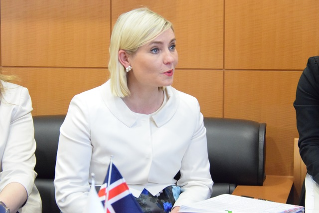 Iceland's Minister of Education, Science and Culture Lilja D. Alfreðsdóttir pays courtesy visit to MEXT Minister